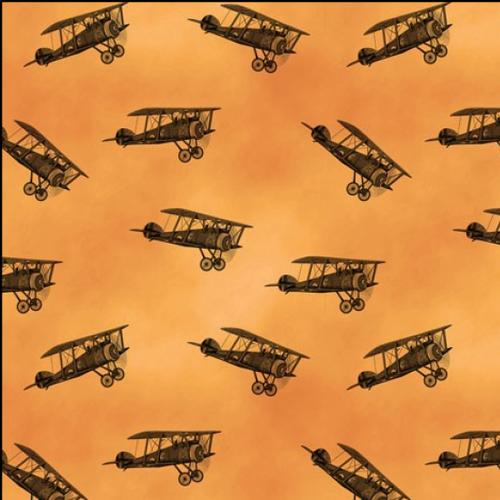 Remembering Vintage Biplanes Orange 100% Cotton Remnant (50 x 112cm Biplanes)