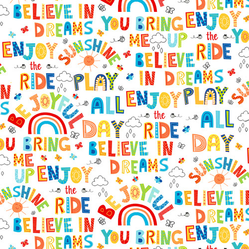Studio e's Play All Day Words And Motifs Multicoloured White 100% Cotton (SE Play All Day 1)
