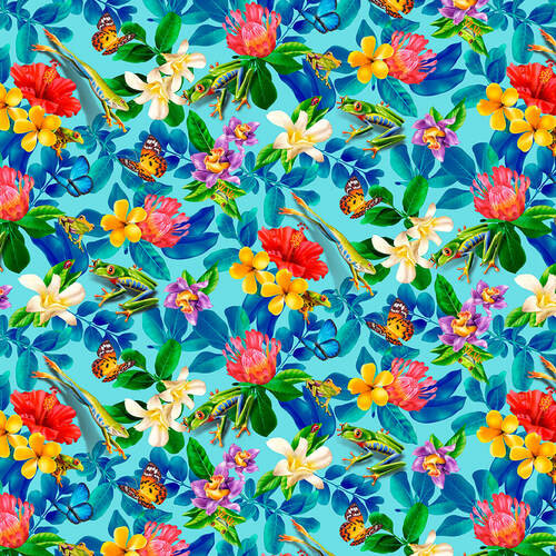 Studio e's Jewels Of The Jungle Frog Floral And Fauna Cerulean Blue 100% Cotton (SE Jewels Of The Jungle 2)