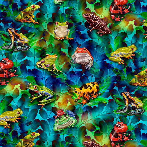 Studio e's Jewels Of The Jungle Frog And Foliage Cerulean Blue 100% Cotton (SE Jewels Of The Jungle 4)