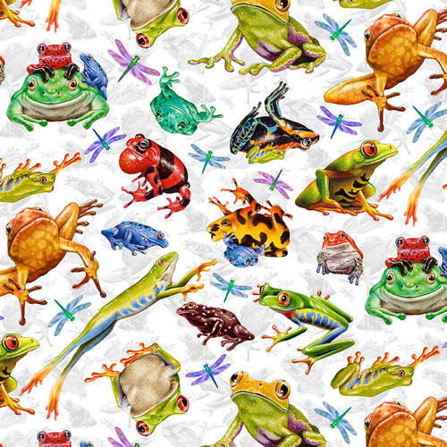 Studio e's Jewels Of The Jungle Frog And Dragonfly Allover White 100% Cotton (SE Jewels Of The Jungle 5)