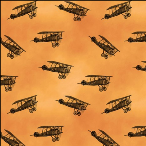 Remembering Vintage Biplanes Orange 100% Cotton Remnant (32 x 112cm Biplanes)