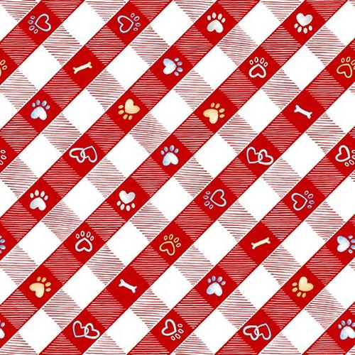 Kanvas Studio Think Pawsitive Puppy Lane Plaid Red 100% Cotton (KS Think Pawsitive 8)