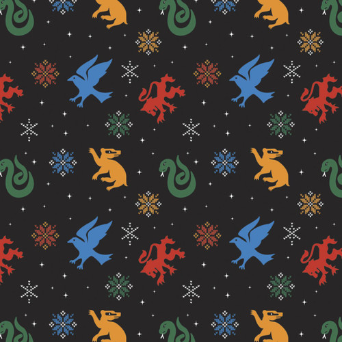 Harry Potter Character Winter Holiday II Snowflake Hogwarts Houses Black 100% Cotton Remnant (52 x 112cm Harry Potter 46)