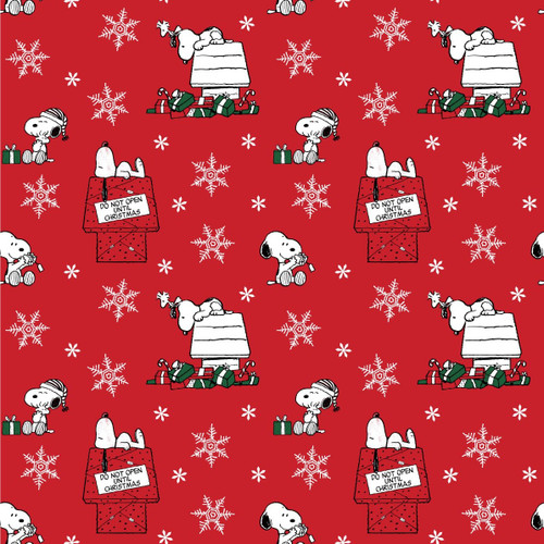 Craft Cotton Company Snoopy Christmas Do Not Open Red 100% Cotton (Snoopy 3)