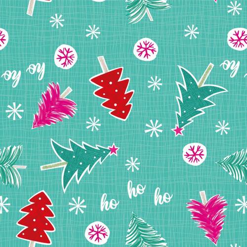 Craft Cotton Co. Christmas Trees And Snowflakes Green 100% Cotton (Festive 1)