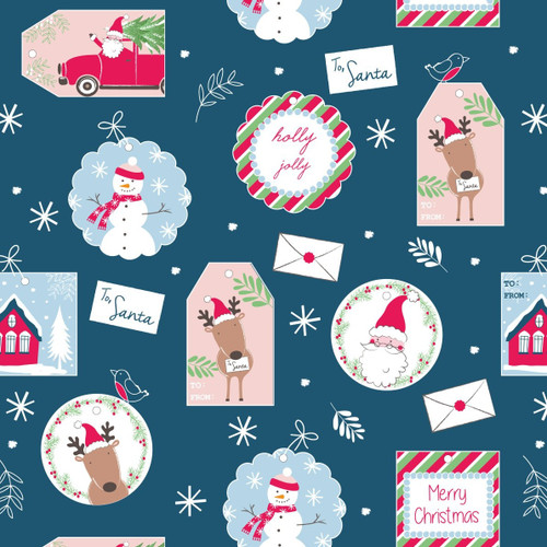Craft Cotton Co. Christmas Gift Tags Blue 100% Cotton (Festive 2)