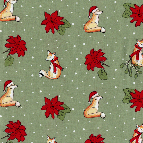 Craft Cotton Co. Christmas Critters Fox Green 100% Cotton (Christmas Critters Fox)