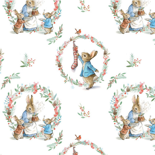 Frederick Warne & Co Peter Rabbit Traditional Wreath White 100% Cotton (Peter Rabbit 25)