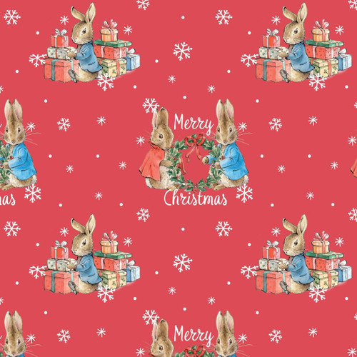 Frederick Warne & Co Peter Rabbit Merry Christmas Red 100% Cotton (Peter Rabbit 26)