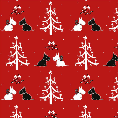 The V & A Collection A Christmas Wish Mistletoe And Trees Red 100% Cotton Remnant (43 x 110cm A Christmas Wish 3)