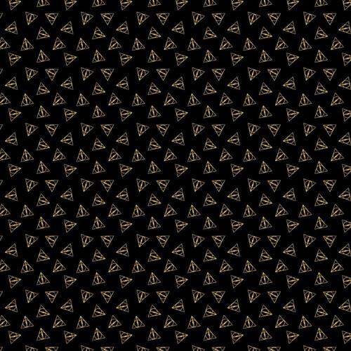 Harry Potter Wizarding World Metallic Deathly Hallow Logo Black 100% Cotton (Harry Potter 52)