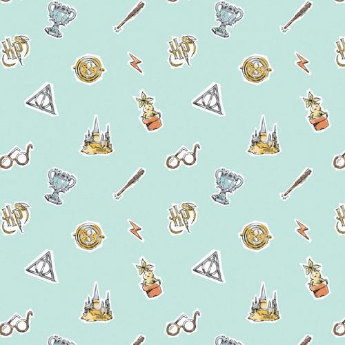 Harry Potter Wizarding World Watercolour Elements Aqua 100% Cotton (Harry Potter 54)