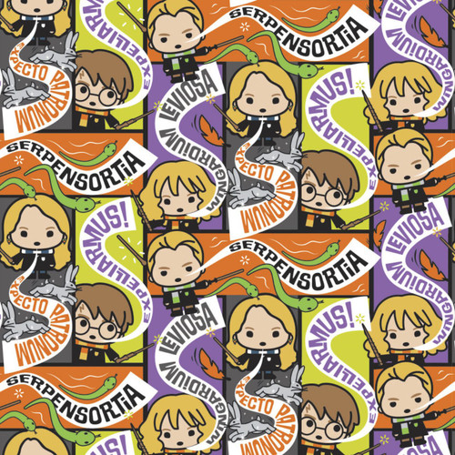 Harry Potter Character Halloween II Spell Casts Multicoloured 100% Cotton Remnant (50 x 112cm Harry Potter 45)