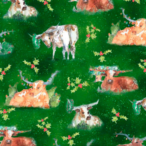 Quilting Treasures Christmas Longhorns Cows Forest Green 100% Cotton (QT Christmas Longhorns 1)
