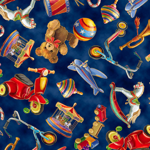 Quilting Treasures Santa's Night Out Tossed Toys Navy 100% Cotton (QT Santa's Night Out 1)