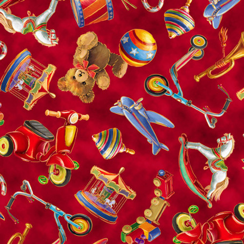 Quilting Treasures Santa's Night Out Tossed Toys Red 100% Cotton (QT Santa's Night Out 2)