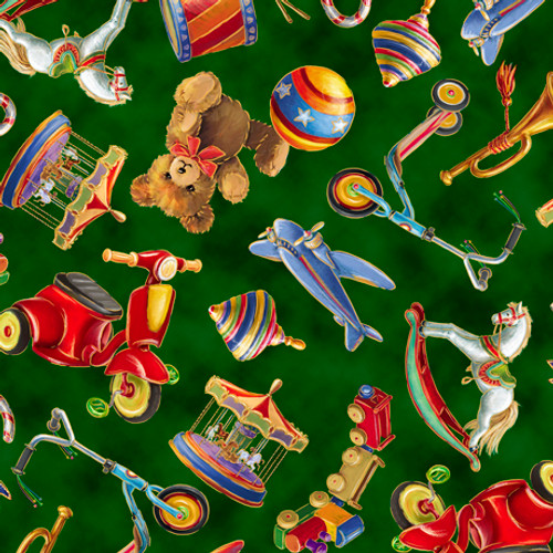 Quilting Treasures Santa's Night Out Tossed Toys Forest Green 100% Cotton (QT Santa's Night Out 3)