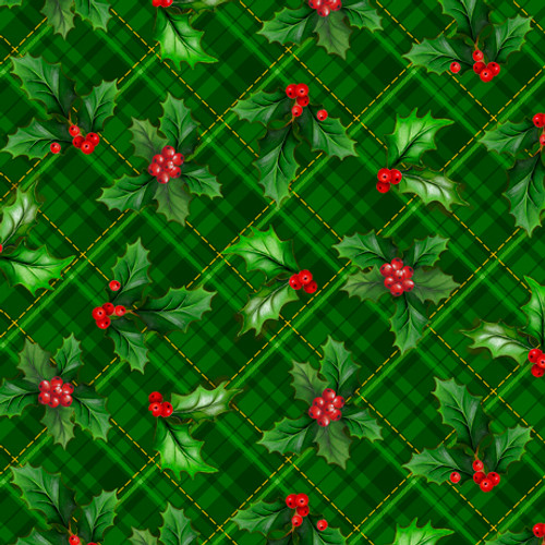 Quilting Treasures Christmas Cardinals Holly Plaid Forest Green 100% Cotton (QT Christmas Cardinals 1)
