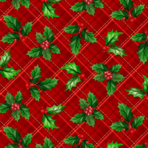 Quilting Treasures Christmas Cardinals Holly Plaid Red 100% Cotton (QT Christmas Cardinals 2)