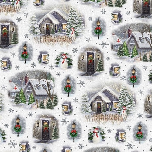 Quilting Treasures Winter Greetings Christmas Village Vignettes White 100% Cotton (QT Winter Greetings 3)