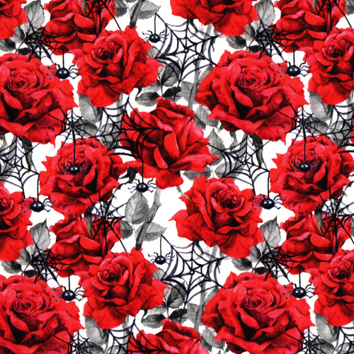 PREORDER: The Vintage Sweetheart Halloween Roses & Cobwebs White 100% Cotton (VS Spooky Roses PREORDER by half metre)