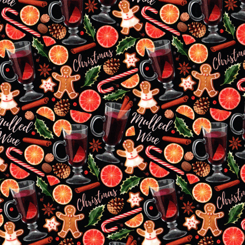 PREORDER: The Vintage Sweetheart Christmas Market Mulled Wine Black 100% Cotton (VS Christmas In A Cup PREORDER by half metre)