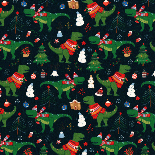 PREORDER: The Vintage Sweetheart Dinosaurs In Christmas Jumpers Navy 100% Cotton (VS Dino Jumpers PREORDER by half metre)