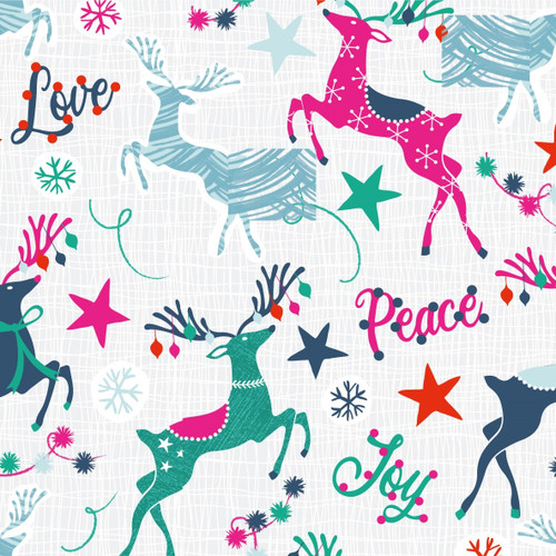 Craft Cotton Co. Christmas Prancing Colourful Reindeer Grey White 100% Cotton (Festive 6)
