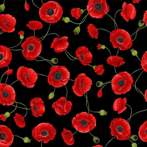 Timeless Treasures Wild Poppy Tossed Medium Poppies Black 100% Cotton Remnant (30 x 112cm TT Wild Poppy 3)