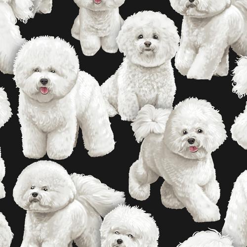 Timeless Treasures Bichon Frise Dog Black 100% Cotton Remnant (46 x 88cm TT Bichon Frise)
