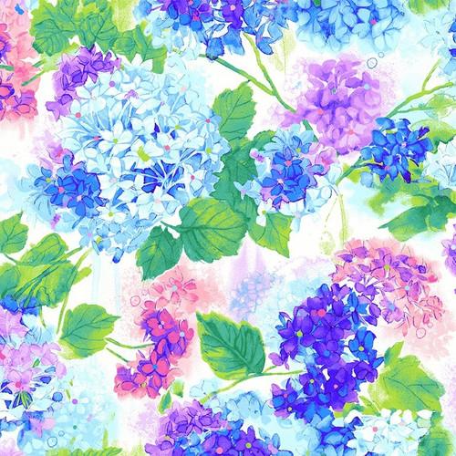 Timeless Treasures Rain Blossom Hydrangea Bouquets Blue 100% Cotton Remnant (50 x 55cm TT Rain Blossom Hydrangea)