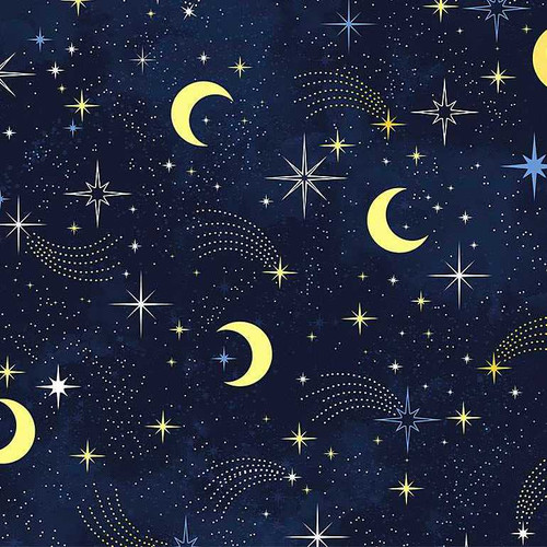 Timeless Treasures I Love You To The Moon And Back Night Sky Shooting Stars Blue 100% Cotton Remnant (46 x 112cm TT I Love You To The Moon 3)