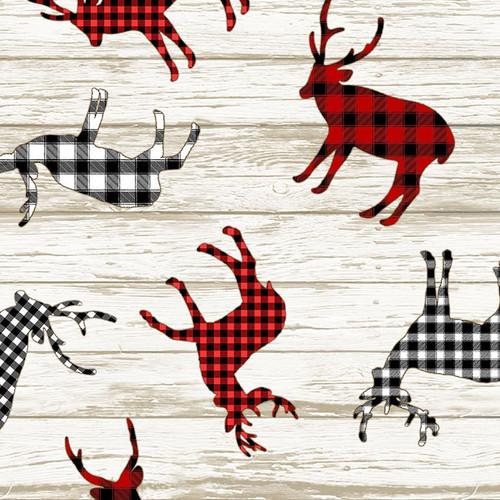 Timeless Treasures I'll Be Home For Christmas Plaid Deer Beige 100% Cotton Remnant (36 x 112cm TT Plaid Deer)