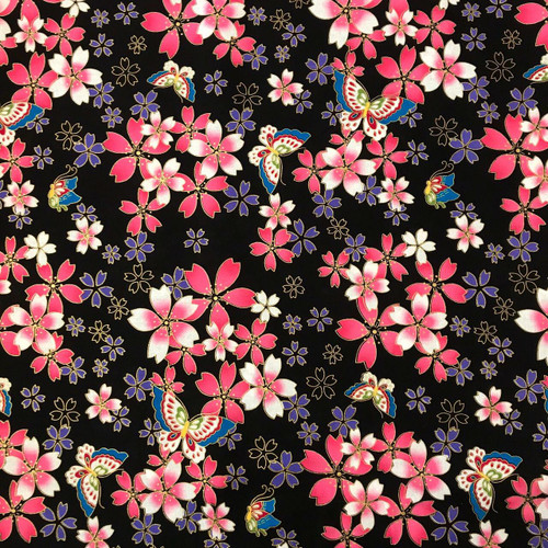 The Craft Cotton Co. Oriental Metallic Butterfly Blossom Floral Black 100% Cotton (Oriental Metallic Butterfly Black)