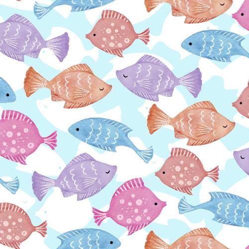Craft Cotton Co. Mermaid Society Fish Blue White 100% Cotton (Fish)