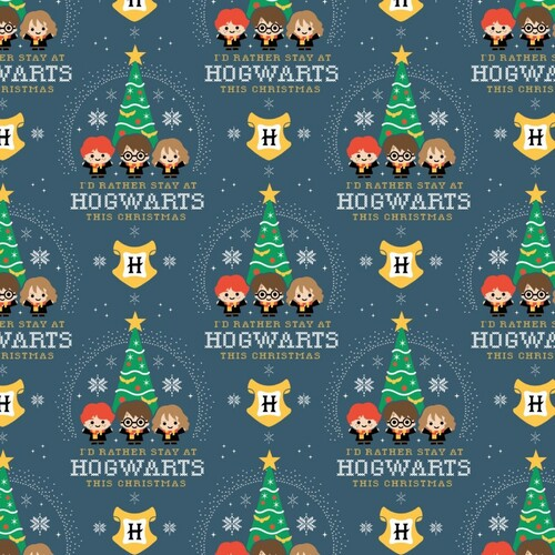 Harry Potter Christmas Holiday I'd Rather Stay At Hogwarts Blue 100% Cotton (Harry Potter 55)