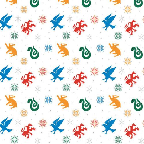 Harry Potter Christmas Snowflake Hogwarts Houses White 100% Cotton (Harry Potter 56)