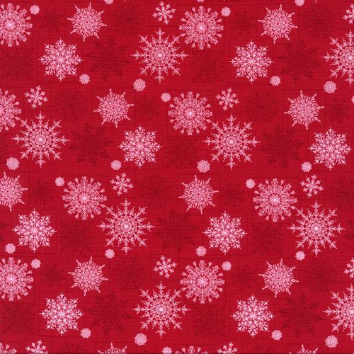 Henry Glass & Co. Holiday Lane Snowflakes Red 100% Cotton (HG Holiday Lane 1)