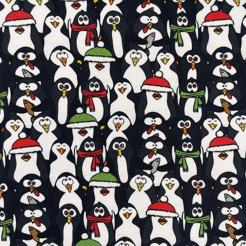 Chatham Glyn Christmas Jolly Penguins White 100% Cotton Remnant (38 x 140cm CG Christmas 15)