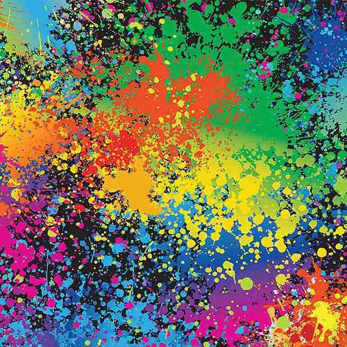Timeless Treasures Pounce Neon Splatters Multicoloured 100% Cotton Remnant (28 x 112cm TT Neon Splatters)