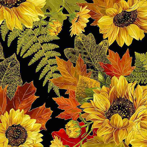 Timeless Treasures Fall Glory Metallic Pinecone Sunflower Bouquets Black 100% Cotton (TT Fall Glory 4)