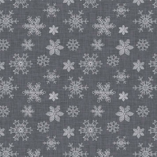 P & B Textiles Sophisticated Christmas  Snowflakes Grey 100% Cotton (PB Sophisticated Christmas)