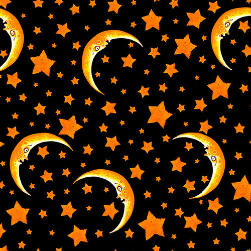 Blank Quilting Witchful Thinking Moons and Stars Black 100% Cotton Remnant (67 x 112cm BQ Witchful Thinking 2)