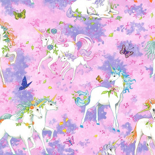 Unicorn & Butterfly Pink 100% Cotton (Wild Unicorns - Pink)