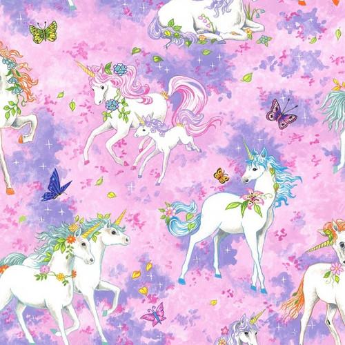 Unicorn & Butterfly Pink 100% Cotton (Wild Unicorns - Pink)