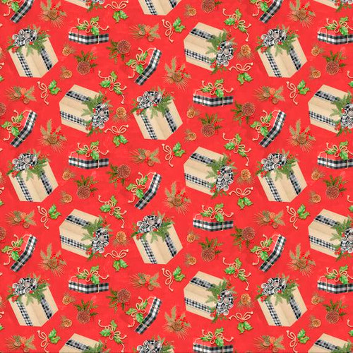 Springs Creative Classic Christmas Presents & Pine Cones Red 100% Cotton (SC Classic Christmas 1)