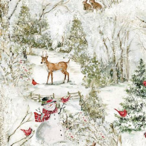 Springs Creative Classic Christmas Snowman Snow Forest Scenic White 100% Cotton (SC Classic Christmas 3)