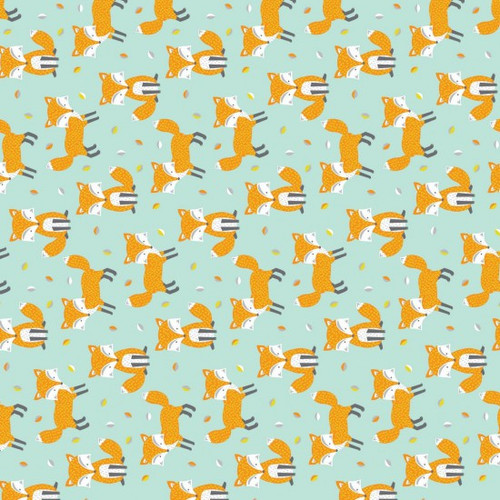 Fox Print Blue 100% Cotton (Woodland Foxes)