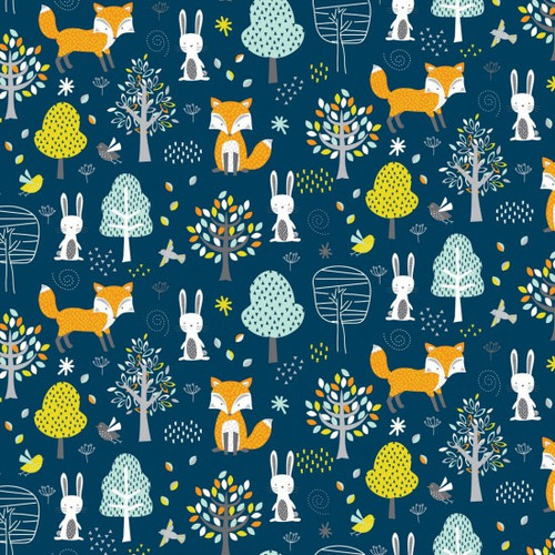 Woodlands Friends Fox, Rabbit & Forest Blue 100% Cotton (Woodlands Friends)